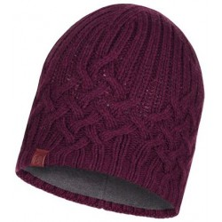 Buff Knitted and Polar Hat Helle Wine muts